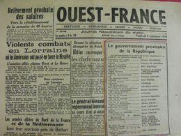Journal Ouest-France N° 29 Du 8 Septembre 1944. Combats En Lorraine Giraud FFI Poitiers - Guerra 1939-45