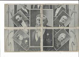 PUZZLE 4 CPA : FALLIERES 1906 Avec En Plans Plus Petits: Thiers, Faaure, Grévy, Mac-Mahon, Carnot, Périer - Persönlichkeiten