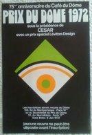 AFFICHE ANCIENNE ORIGINALE 75è Anniversaire Du Café Du Dôme Prix 1972 CESAR LEVITAN DESIGN Art Optique Style Vasarely - Manifesti