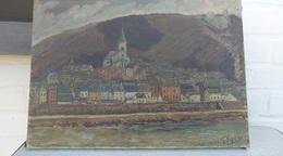 Peinture De Gustave Jacobs. 1936. Bouvignes. Dinant - Huiles