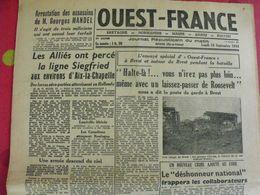 Journal Ouest-France N° 37 Du 18 Septembre 1944. FFI Mandel Brest Pétain Japon  épuration - Guerra 1939-45