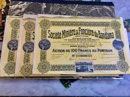 Sté  Minière  &  Foncière  Du  Bandama  --------------Lot  De  3  Actions  De  100 Frs - Miniere