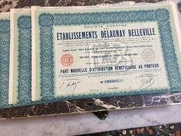 S.A.  Des  ÉTABLISSEMENTS  DELAUNAY  BELLEVILLE ---------  Lot  De  3  Parts  Nouvelles - Automobilismo