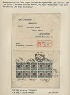 """China: 1922, Dreiseitig Geöffneter Einschreibbrief Aus """"Tsinan"""" Mit 10 Stück Der Freimarke 2 Auf 3 C - Covers & Documents"""
