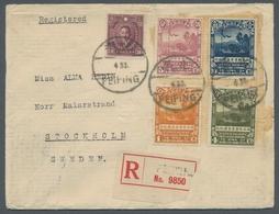 """China: 1933, SVEN HEDIN Komplett Mit Beifrankatur Auf Pracht-R-Bf. 1933 """"PEIPING"""" Nach Stockholm Mit - Covers & Documents"""