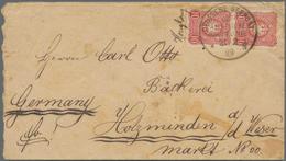 """Hongkong: 1889, German Sea Post, Cover Bearing Vertical Pair 10pfg. Red With Adjacent Ms. """"Hongkong"""" - Hong Kong (...-1997)"""