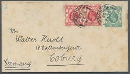 """Hongkong - Ganzsachen: 1908, 4 C. Karmin Paar Auf Ganzsache 2 Cent Grün K2 """"VICTORIA HONG-KONG"""" Nach - Hong Kong (...-1997)"""