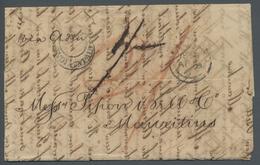 Indien: 1861, Markenloser Brief Aus Madras Via Aden Nach Mauritius, Vorderseitig Aufgabestempel Und - 1882-1901 Empire