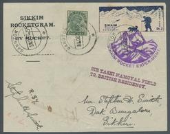 "Indien - Raketenpost: 1935, ""Sikkim Rocket Experiment""-Vignette Zu 2 Rupien Entwertet ""Gangtok ...OC - Unclassified"