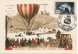 TOULOUSE (HAUTE GARONNE) : JOURNEE DU TIMBRE 1955 Oblitération Temporaire Sur CARTE POSTALE - Post