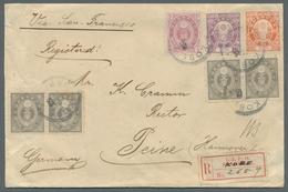 """Japan: 1888, """"Koban"""", Zwei Waagerechte Paare Der 5 Rin Sowie 3, 15 Und 20 Sen Je Entwertet """"Kobe"""" Zu - Japan"""