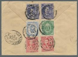 """Japan: 1896, Einschreibbrief Mit Seltenem R-Zettel """"Tokio, Japan"""" Nach Brüssel. Rückseitig Aufgekleb - Japan"""