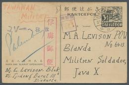 Japanische Besetzung  WK II - NL-Indien / Java / Dutch East Indies: 1945, 3 1/2 Cents Lokalganzsache - Indonesia