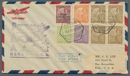 Macau: 1936, Flugpostausgabe Auf Fünf Briefen, Teilweise Mehrfach, Mit Zusatzfrankaturen. Alle Beleg - Covers & Documents