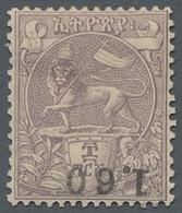 "Äthiopien: 1905, ""80 And 1,60 Fr. Overprint Upside Down In Missing Colour Black"", Mint Hinged Value - Ethiopie"
