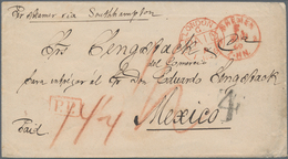 """Mexiko: 1869 Incoming Mail: Stampless Envelope With Tax-cancel """"4"""" And M/s """"14¼"""" + Red Franco-cds """"B - Messico"""