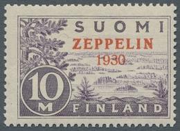 """Finnland: 1930, Freimarke Zu 10 Mark Hellviolett, Mit Zweizeiligem Aufduck """"Zeppelin 1930"""" In Tadell - Finland"""