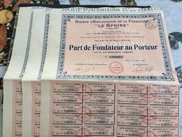 Sté  D' Exploitation De  La  Fermeture < LE  SPHINX > --------Lot  De  3  Parts  De  Fondateur - Industrie
