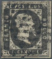 Italien - Altitalienische Staaten: Sardinien: 1851, 5 C Grey-black Tied By Dotted Lozenge Cancel, Th - Sardaigne