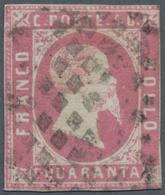 Italien - Altitalienische Staaten: Sardinien: 1851, 40 C Lilac-rose Cancelled With Dot Cancel, Three - Sardaigne