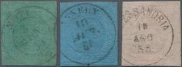 Italien - Altitalienische Staaten: Sardinien: 1853, 5 C Blue-green, 20 C Blue And 40 C Rose With Cle - Sardaigne