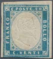 Italien - Altitalienische Staaten: Sardinien: 1855, 20 C Milk-blue Unused With Original Gum, The Sta - Sardaigne