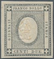 """Italien - Altitalienische Staaten: Sardinien: 1861, 2 C Grey With Embossing Error """"1"""" Instead Of 2, - Sardaigne"""