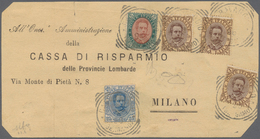 Italien: 1889: Cover Front Of A Letter Send In 1896 From Caravaggio To Milan Franked With 5 Lire Umb - 1900-44 Victor Emmanuel III