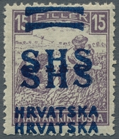 "Jugoslawien: 1918, ""15 F. Violet, White Figure Of Value With Double Overprint"", Mint Hinged, Very Fr - 1919-1929 Reino De Los Serbios, Croatas Y Eslovenos"