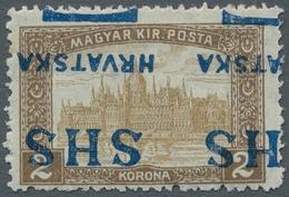 "Jugoslawien: 1918, ""2 Kr. Parliament With Double Inverted Overprint"", Mint Hinged, Very Fresh And Fi - 1919-1929 Reino De Los Serbios, Croatas Y Eslovenos"