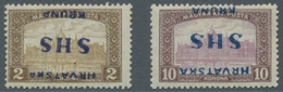 "Jugoslawien: 1918, ""10 And 2 Kr. Parliament With Inverted Overprint"", Mint Hinged, Very Fresh And Fi - 1919-1929 Reino De Los Serbios, Croatas Y Eslovenos"