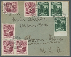 Liechtenstein: 1930, Freimarken 3 Rp. Winzerin Und 5 Rp. Blankner-Türme Als Mischfrankatur Auf Brief - Lettres & Documents
