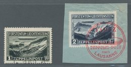 """Liechtenstein: 1931, Liechtensteinfahrt Des LZ 127, 1 Mark Mit (Gefälligkeits-)Stempel """"Triesenberg - Oblitérés"""