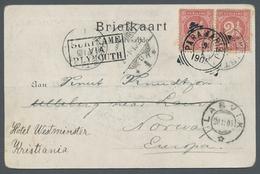 Norwegen: 1905, Incoming Mail SURINAM, 2 1/2 C. Karmin Paar Auf AK: Paramaibo Nach Norwegen, Leitver - Norwegen