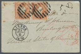 Portugal: 1867, König Luis I., 80 Reis Orange Gezähnt Im Waagerechtem Paar Vom Linken Seitenrand, En - 1910-... République