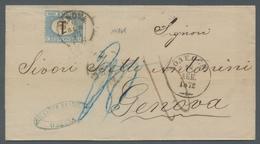 Russland: 1872, Unfrankiert Gebliebener Brief Aus Odessa über Wien Nach Genua, Mit Nachportovermerke - 1857-1916 Empire