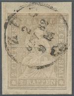 Schweiz: 1862, 2 Rp. Grau, Sauber ZUG 2 OCT. 62 Gestempelter Wert Auf Kleinem Briefstück, Rechts Unt - 1862-1881 Helvetia Assise (dentelés)
