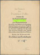 Autographen: RAEDER, ERICH - Ernennungsurkunde Zum Marineoberbaurat Vom 15.2.1939, Mit Faksimilierte - Autographes