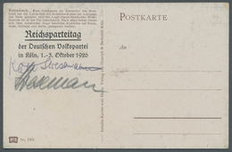 Autographen: STRESEMANN, GUSTAV (1878-1929), Deutscher Reichskanzler, Außenminister Und Vorsitzender - Autographes
