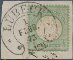Deutsches Reich - Brustschild: L1872, Großer Schild 1/3 Gr. Grün Mit Prägefehler II: Senkrecht Ausge - Germany