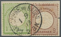 """Deutsches Reich - Brustschild: 1872, """"9 Kr. Kleiner Schild"""" Neben 1 Kr. Auf Briefstück Mit CARLSRUHE - Germany"""