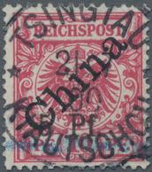 Deutsche Kolonien - Kiautschou: 1900, 5 Pf. Auf 10 Pfg. Karmin Mit Größerem Ergänzungshandstempel Au - Colonie: Kiautchou