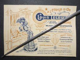 Le Havre - Imprimé Cartonné Publicitaire - A L'Etoile D'Or - Bijouterie Louis Leleu - 40 Rue Voltaire  - TBE - - Cartoncini Da Visita