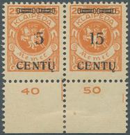 Memel: 1923, 15 C. Auf 25 M. Lebhaftrötlichorange Im Waagerechten Unterrandpaar, Linke Marke Mit Auf - Memel (Klaïpeda)