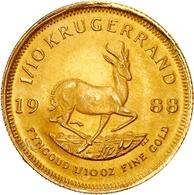 Südafrika - Anlagegold: 1988, 1/10 Krügerrand Aus 917er Gold In Vorzüglicher Erhaltung Im Originalet - Sudáfrica