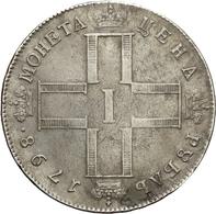 Russland: 1798, Zar Paul I., 1 Rubel Aus 868er Silber In Sehr Schöner Erhaltung. - Russie