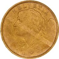 """Schweiz: 1935, """"Helvetia"""" 20 Franken In 900er Gold In Sehr Schöner Erhaltung. - Suiza"""