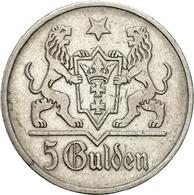 Danzig: 1923, 5 Gulden (Jaeger Nr. D9) Aus 750er Silber In Sehr Schöner Erhaltung. - Monedas