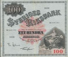 Sweden / Schweden: 1959, 100 Kronen-Schein, Mittig Senkrecht Etwas Stärker, Mittig Waagerecht Leicht - Svezia