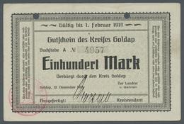 Deutschland - Notgeld - Ehemalige Ostgebiete: GOLDAP; 1918, Partie Von 4 Notgeldscheinen Des Kreises - Germania